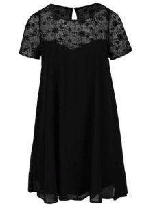 Čierne plus size šaty s priesvitným kvetovaným sedlom Goddiva