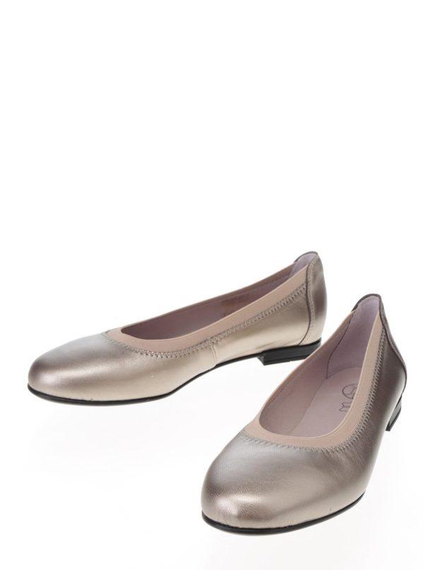 Béžové metalické kožené baleríny OJJU