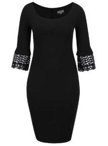 Čierne plus size puzdrové šaty s čipkovanými detailmi Goddiva