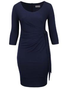 Tmavomodré plus size puzdrové šaty s uzlom Goddiva