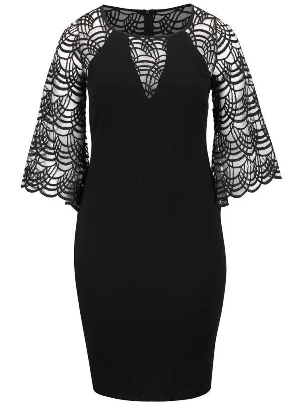 Čierne plus size šaty so zvonovými rukávmi Goddiva