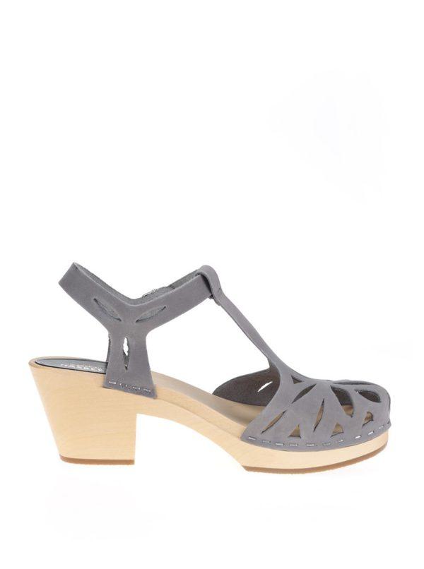 Dreváky na podpätku so sivými koženými remienkami Swedish Hasbeens Lacy Sandal