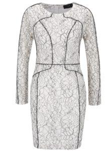 Čierno-krémové šaty s dlhým rukávom AX Paris