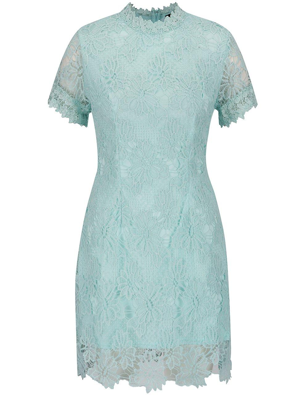 Zelené čipkované šaty s krátkym rukávom AX Paris  f039681ade0