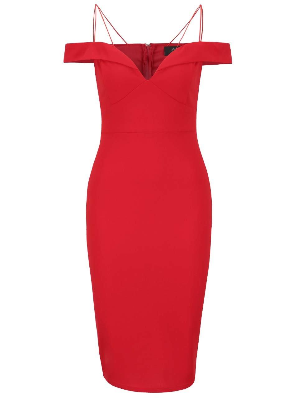 Červené šaty s odhalenými ramenami a tenkými ramienkami AX Paris ... 1b41e3636c4
