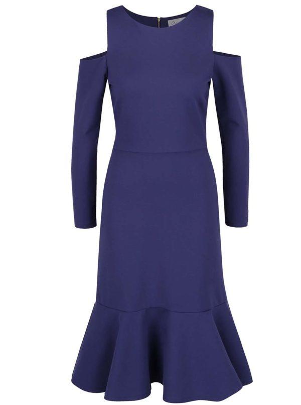 Tmavomodré šaty s prestrihmi na ramenách Closet
