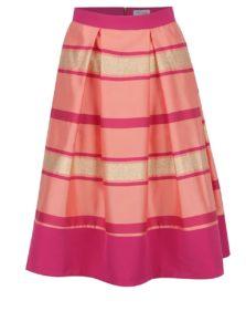 Ružová pruhovaná sukňa so zdobením v zlatej farbe Closet