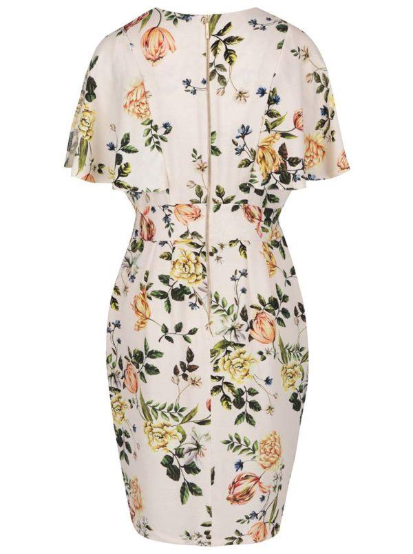 Béžové kvetované šaty s prestrihmi na rukávoch Closet