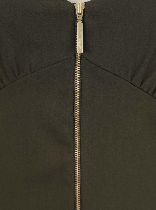 Khaki šaty na ramienka so zipsom Closet