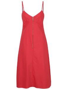 Červené šaty na ramienka so zipsom Closet