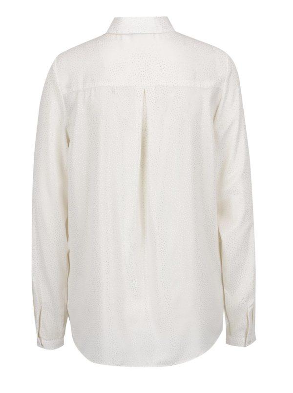 Krémová dámska bodkovaná košeľa s dlhým rukávom Broadway Doris