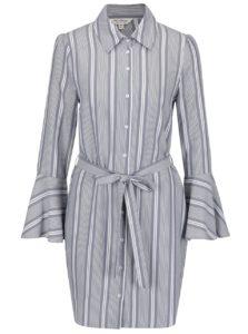 Krémovo-sivé pruhované košeľové šaty Miss Selfridge