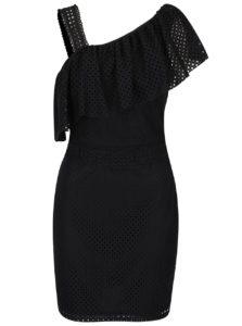 aed272a89b47 Čierne dierkované šaty cez jedno rameno Miss Selfridge