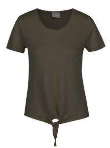 Kaki ľanové tričko s uzlom Vero Moda Reza