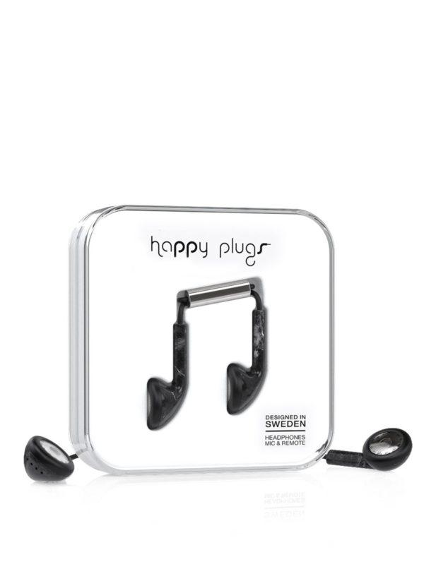Čierne earbud plus slúchadlá Happy Plugs