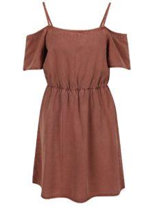 Hnedé šaty s odhalenými ramenami VERO MODA Zoe