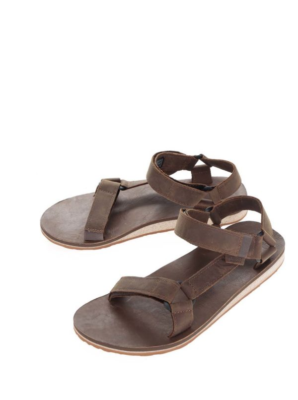Hnedé kožené pánske sandále Teva