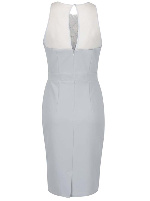 Sivé šaty so zdobeným dekoltom Little Mistress  ef5389965c7
