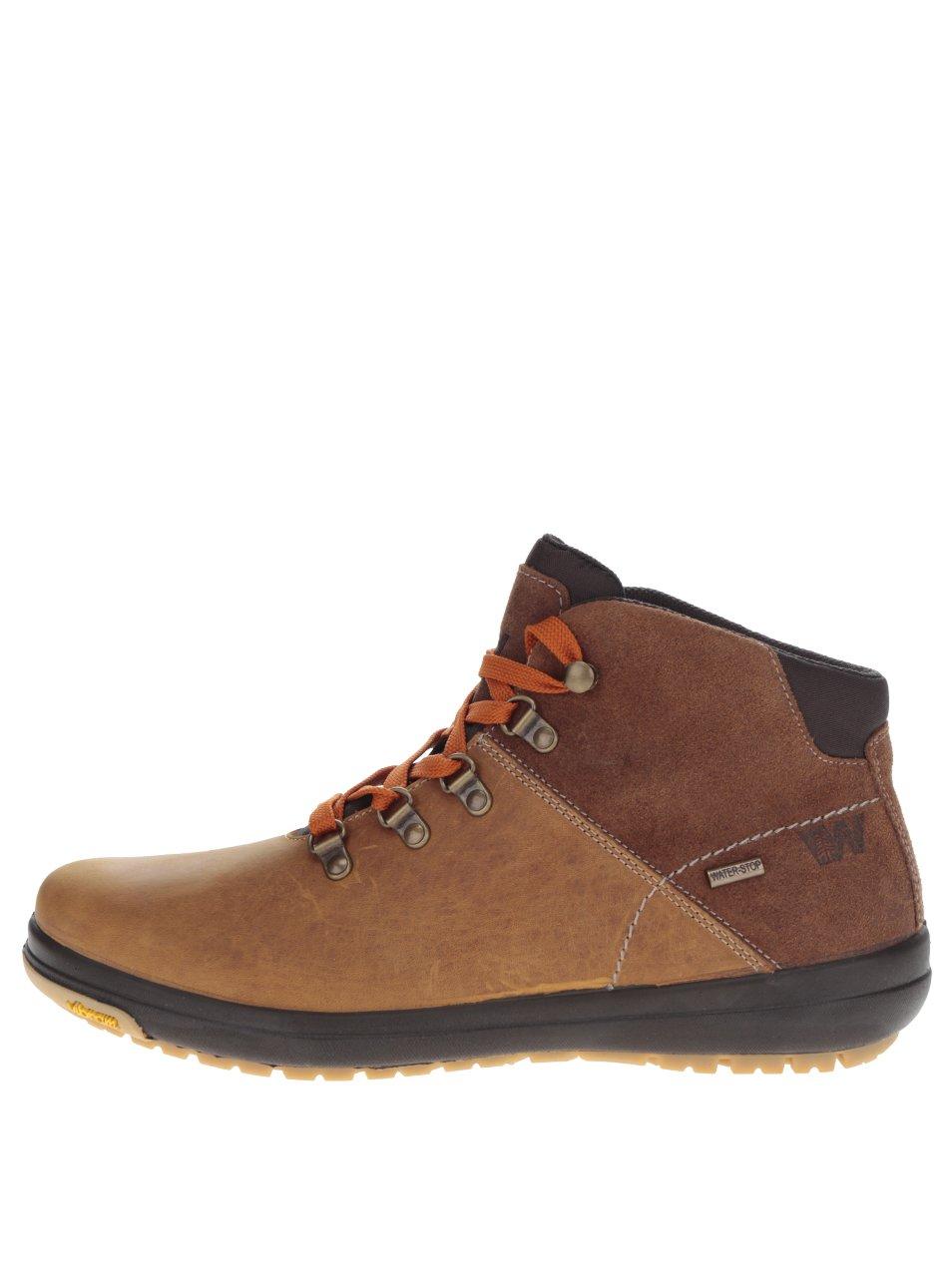 f16950740b3e Hnedé pánske kožené členkové topánky Weinbrenner