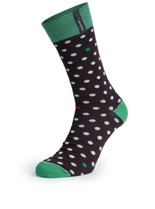 Zeleno-čierne bodkované unisex ponožky V páru