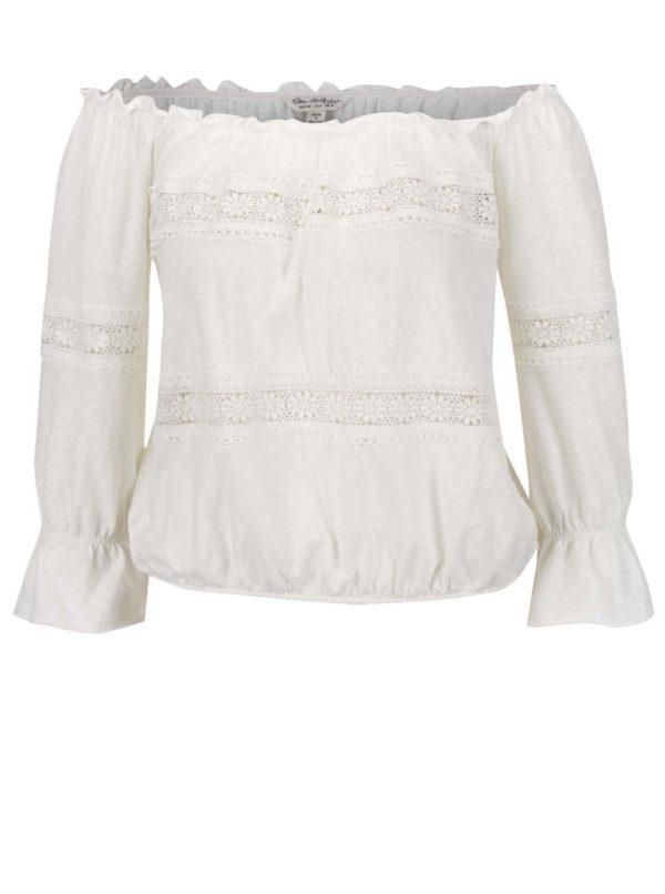 Krémové tričko s lodičkovým výstrihom Miss Selfridge