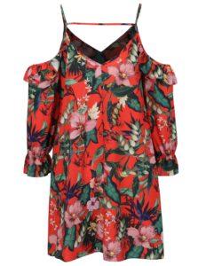 Oranžové kvetované šaty s odhalenými ramenami Miss Selfridge