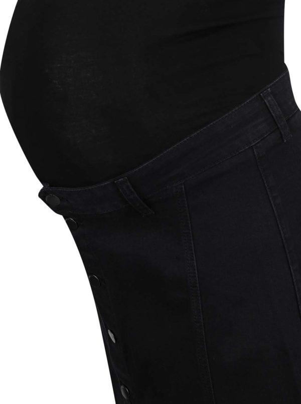 Čierna rifľová tehotenská sukňa na gombíky Dorothy Perkins Maternity