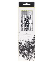 Súprava ôsmich čierno-bielych vzorovaných ceruziek Galison