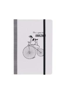 Čierno-biely linkovaný zápisník s motívom psa na bicykli Galison A5