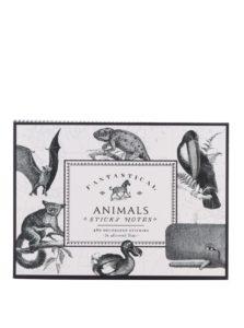 Čierno-biela súprava samolepiacich poznámkových papierikov s motívom zvierat Galison