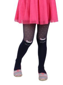 Tmavomodré dievčenské pančuchy s mačacím motívom Penti Muhur 30 DEN