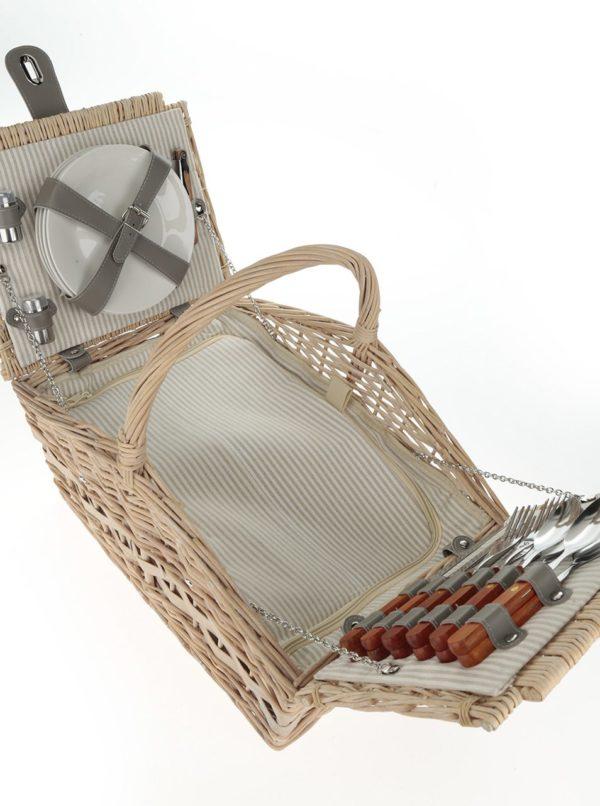 Béžový veľký prútený piknikový kôš pre 4 osoby Dakls