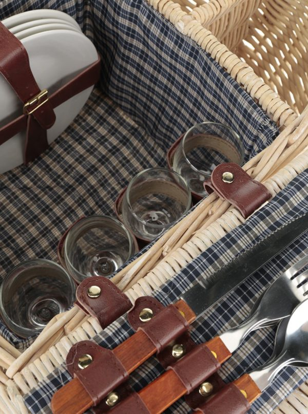 Béžový malý prútený piknikový kôš pre 4 osoby Dakls