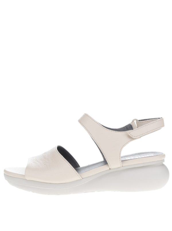 Krémové dámske kožené sandálky na plnom podpätku Camper