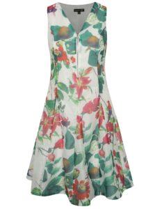 Biele kvetované šaty so zipsom Smashed Lemon