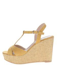 Žlté sandále v semišovej úprave na platforme OJJU