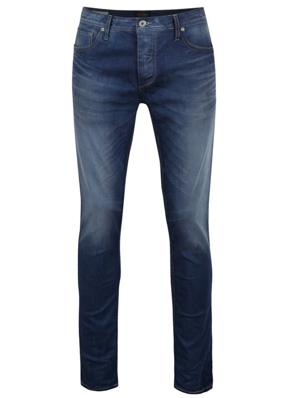 Modré slim fit rifle s vyšúchaným efektom Jack & Jones Tim Original