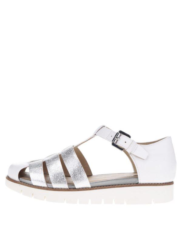 Biele dámske kožené sandále s remienkami v striebornej farbe Geox Darline