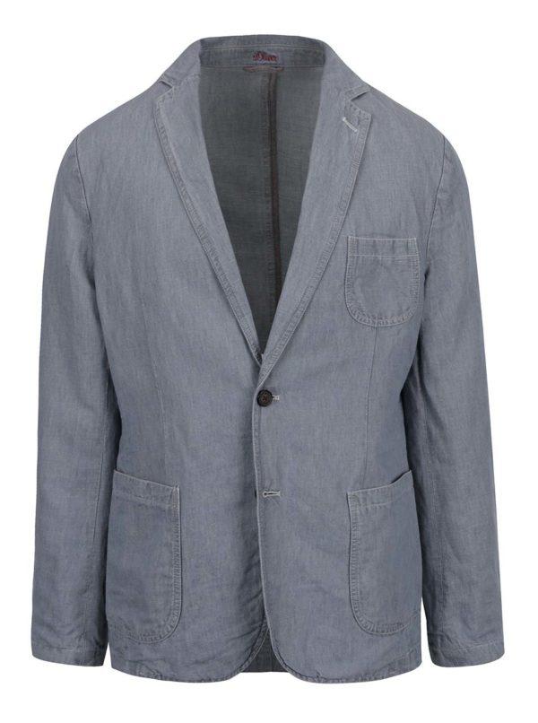 Sivomodré pánske ľanové sako s.Oliver
