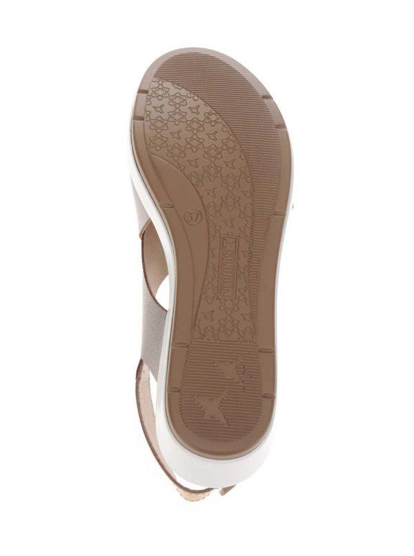 Béžové kožené metalické sandále na klinovom podpätku Mykonos