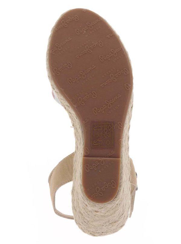 e6c6f960f1fc Krémovo-červené remienkové sandále na klinovom podpätku Pepe Jeans Kinney