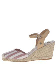 Krémovo-červené remienkové sandále na klinovom podpätku Pepe Jeans Kinney