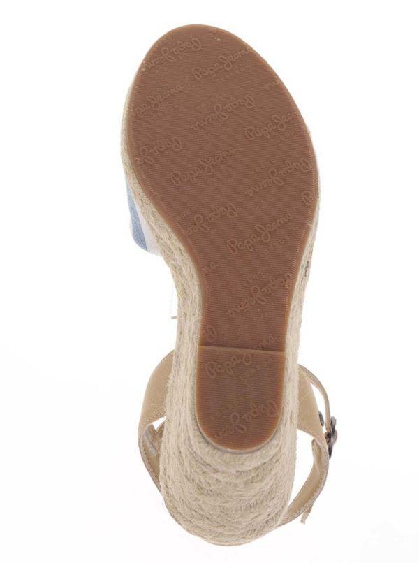 116e885db1c9 Krémovo-modré pruhované sandále na klinovom podpätku Pepe Jeans Kinney
