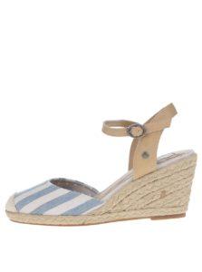 Krémovo-modré pruhované sandále na klinovom podpätku Pepe Jeans Kinney