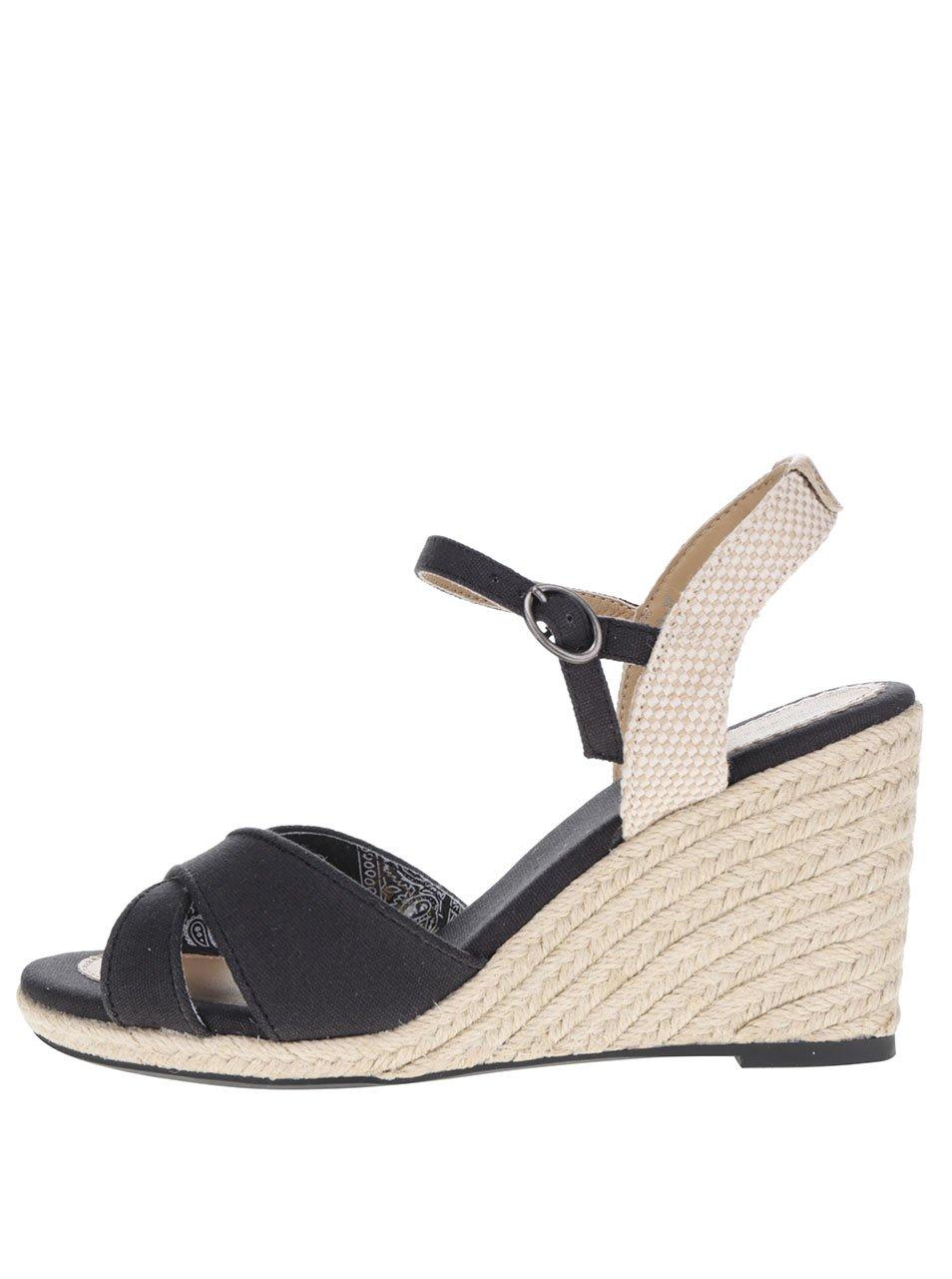 9ece75a32551 Čierne dámske sandále na klinovom podpätku Pepe Jeans Shark Basic ...
