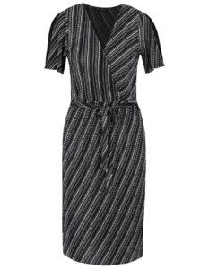 Čierne vzorované šaty s prekladaným výstrihom Miss Selfridge