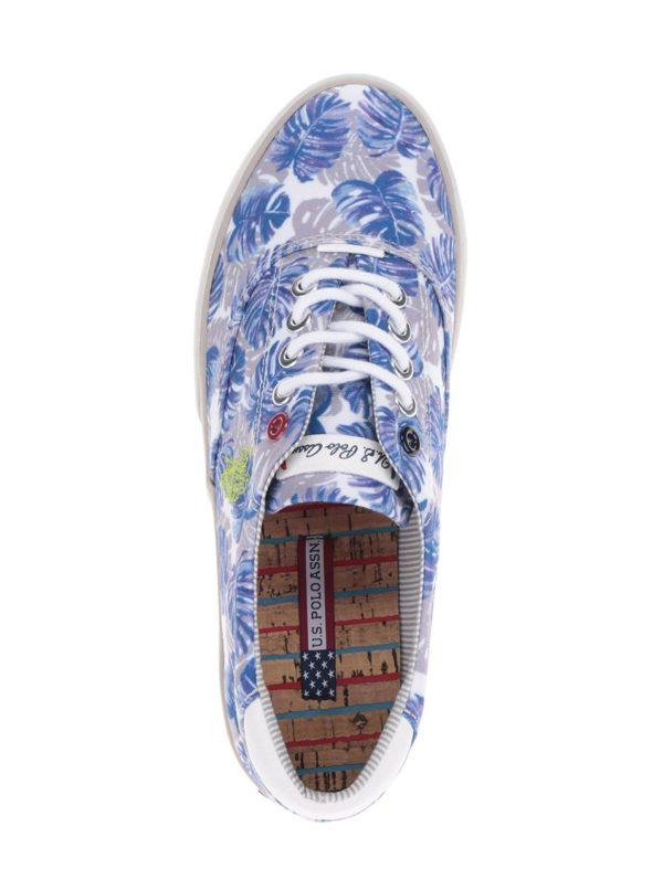 Krémovo-modré dámske kvetované tenisky U.S. Polo Assn. Ripley