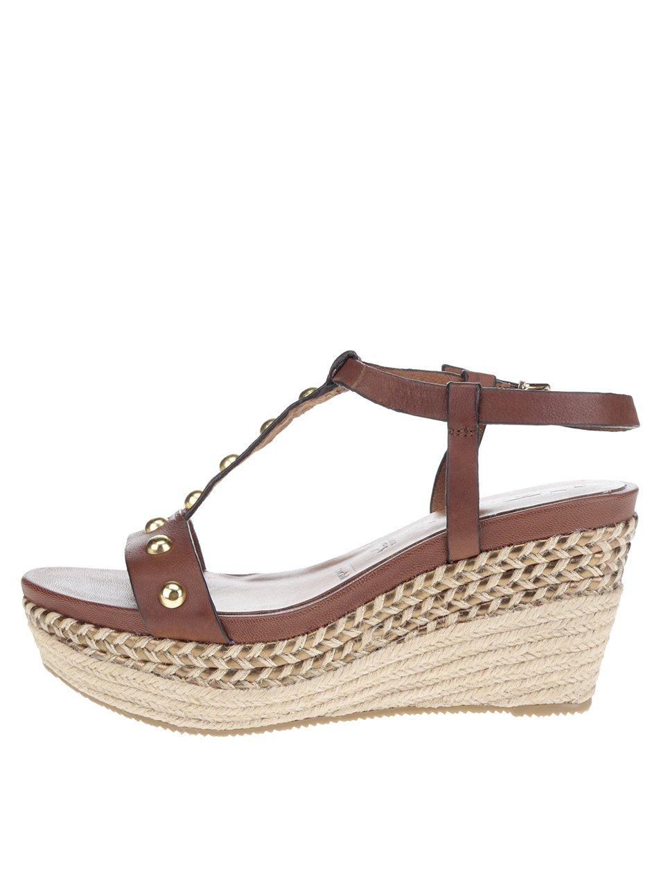 f7052559471f Hnedé remienkové kožené sandále na platforme Tamaris