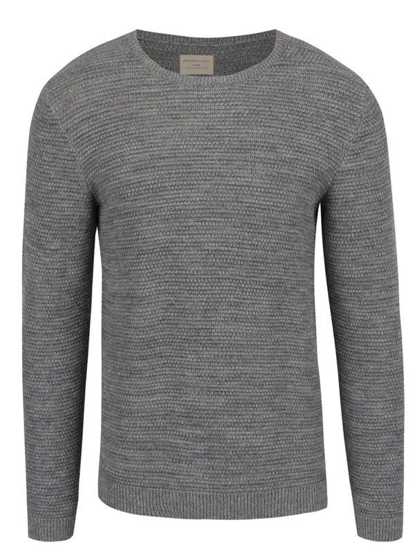 Sivý melírovaný sveter Selected Homme New Vince