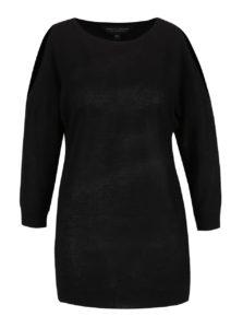 Čierny tenký sveter s prestrihmi na ramenách Dorothy Perkins